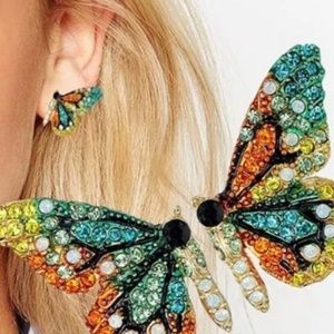 NEW Women's Colorful Crystal Butterfly Earrings